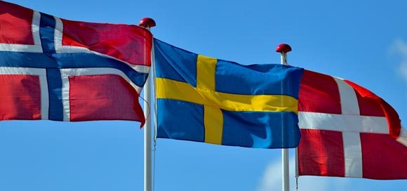 Norway, Sweden, and Denmark flags
